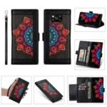 Flower Patterned PU Leather Shell with Wallet Stand Design for Xiaomi Poco X3 – Black