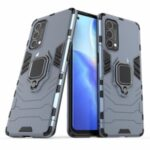 PC + TPU Combo Protective Shell with Finger Ring Kickstand for Oppo Reno5 Pro 5G Hybrid Phone Case – Blue