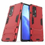 2 in 1 Kickstand Protector Plastic + TPU Hybrid Cover for Oppo Reno5 Pro+ 5G – Red