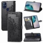 Embossed Mandala Flower Leather Case with Wallet Stand for OnePlus Nord N10 5G – Black
