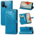 Embossed Mandala Flower Leather Case with Wallet Stand for OnePlus Nord N100 – Blue