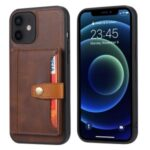 PU Leather Coated TPU Case [Card Slots] [Kickstand] for iPhone 12 mini Cover – Brown