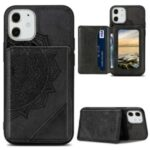 Mandala Flower Pattern PU Leather+TPU Kickstand Wallet Phone Case for iPhone 12 Mini – Black