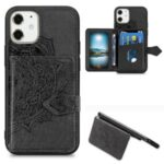 Mandala Flower Pattern Imprinting PU Leather + TPU Phone Wallet Case with Kickstand for iPhone 12 Mini – Black