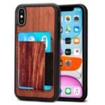 Wooden Texture PU Leather+TPU Phone Shell Case with Magnetic Plate Card Holder for iPhone X/XS – Red