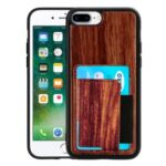 Wooden Texture PU Leather+TPU Phone Cover with Magnet and Card Holder for iPhone 6 Plus/7 Plus/8 Plus – Red