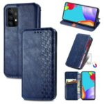 Fashionable Rhombus Imprinting Decor Leather Phone Auto-Absorbed Cover Case for Samsung Galaxy A72 5G – Blue