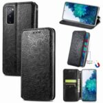 Stand Wallet Design Imprinted Mandala Flower Pattern Auto-absorbed PU Leather Case for Samsung Galaxy S20 FE/S20 Fan Edition/S20 FE 5G/S20 Fan Edition 5G – Black