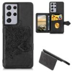 Mandala Pattern Imprinting Buckled Wallet Design PU Leather Coated TPU Phone Case for Samsung Galaxy S21 Ultra 5G – Black