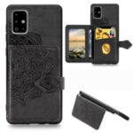 Mandala Pattern Imprinting Buckled Wallet Design PU Leather Coated TPU Phone Case with Kickstand for Samsung Galaxy A51 SM-A515 – Black