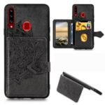 Mandala Pattern Imprinting PU Leather Coated TPU Phone Wallet Case with Strap + Kickstand for Samsung Galaxy A20s – Black