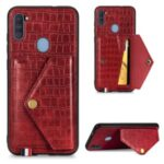Card Holder Kickstand Crocodile Texture Leather+TPU Case for Samsung Galaxy A11/M11 (European Version) – Red