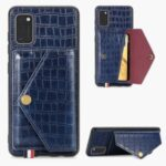 Crocodile Texture Card Holder Stand PU Leather Coated TPU Cover for Samsung Galaxy A41 (Global Version) – Blue