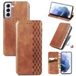 Fashionable Auto-absorbed Rhombus Texture PU Leather Wallet Phone Cover for Samsung Galaxy S21+ 5G – Light Brown