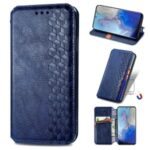 Fashionable Auto-absorbed Rhombus Texture PU Leather Wallet Phone Cover for Samsung Galaxy S20 – Blue