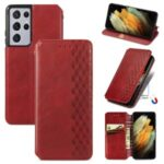 Fashionable Auto-absorbed Rhombus Texture PU Leather Wallet Phone Cover for Samsung Galaxy S21 Ultra 5G – Red
