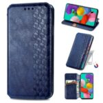 Fashionable Auto-absorbed Rhombus Texture PU Leather Wallet Phone Cover for Samsung Galaxy A71 5G SM-A716 – Blue