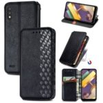 Fashionable Auto-absorbed Rhombus Texture PU Leather Cover for LG K22 Case – Black