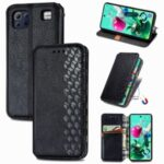 Leather Phone Auto-Absorbed Cover Case with Fashionable Rhombus Imprinting Decor for LG K92 5G – Black