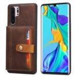 PU Leather Coated TPU Case for Huawei P30 Pro Cover [Card Slots] [Kickstand] – Brown
