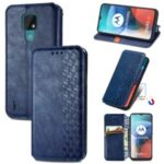 Auto-Absorbed Rhombus Imprinting Leather Phone Cover Case for Motorola Moto E7 – Blue