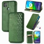 Auto-Absorbed Rhombus Imprinting Decor Fashionable Leather Phone Cover Case for Motorola Moto G9 Power – Green