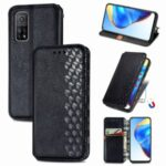 Auto-Absorbed Rhombus Imprinting Decor Full Coverage Leather Phone Cover Case for Xiaomi Mi 10T 5G/Mi 10T Pro 5G/Redmi K30S – Black