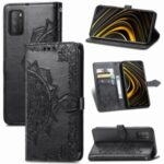 Embossment Workmanship Mandala Flower PU Leather Wallet Stand Case for Xiaomi Poco M3 – Black