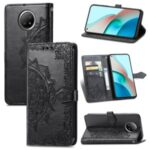 PU Leather Wallet Stand Case with Embossed Mandala Flower for Xiaomi Redmi Note 9 5G/Note 9 Pro 5G – Black