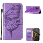 Imprint Butterfly Flower Pattern Wallet Stand Leather Case for Xiaomi Poco M3 – Purple