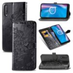 Embossed Mandala Flower PU Leather Wallet Stand Design Case for Alcatel 1S (2020) – Black