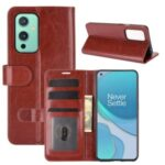 Crazy Horse Texture Leather Cover Stand Case with Wallet Design for OnePlus 9 – Brown
