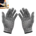Outdoor Fishing Full Finger Gloves HPPE Cut Resistant Level 5 Protection Gloves, Size: L/Black Edge