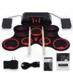 Digital Roll-Up Drum Kit 9 Labeled Pads with Foot Pedals Sticks – Red