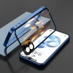 Precision Hole Double-sided Tempered Glass Double Buckle with Full Cover Camera Protective Phone Case for iPhone 12 / iPhone 12 Pro – Blue