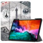 Pattern Printing Tri-fold Stand PU Leather Tablet Cover Smart Case with Pen Slot for iPad Pro 12.9-inch (2021) – Tower