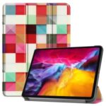 Pattern Printing Tri-fold Stand PU Leather Tablet Cover Smart Case with Pen Slot for Apple iPad Pro 11-inch (2021) – Colorful Grid
