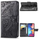 Big Butterfly Imprinting Design Leather Wallet Phone Shell for Samsung Galaxy A20e – Black