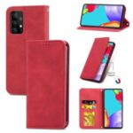 Auto-absorbed Vintage PU Leather Phone Casing for Samsung Galaxy A72 5G – Red
