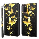 Pattern Printing Wallet Stand PU Leather Phone Cover Shell for Samsung Galaxy A02s (164.2×75.9×9.1mm) – Gold Butterfly