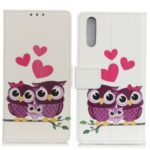 Pattern Printing Wallet Stand Design Leather Phone Cover Shell for Sony Xperia Ace II – Heart and Owl
