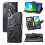 Imprint Big Butterfly Leather Wallet Phone Shell for Motorola Moto G9 Power – Black