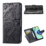 Leather Wallet Phone Shell with Big Butterfly Imprinting for Xiaomi Redmi Note 9S/Redmi Note 9 Pro/Redmi Note 9 Pro Max – Black