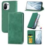 Auto-absorbed Vintage PU Leather Phone Casing for Xiaomi Mi 11 – Green