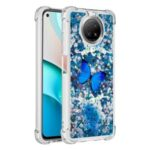 Glitter Sequins Quicksand Design TPU Phone Protective Shell with Pattern for Xiaomi Redmi Note 9T 5G / Xiaomi Redmi Note 9 5G – Blue Butterfly