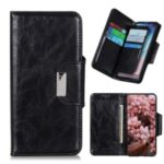 Crazy Horse Texture Leather Multiple Card Slots Design Phone Cover Case for Xiaomi Redmi Note 10 4G – Black