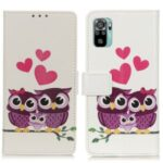 Pattern Printing Wallet Stand Design PU Leather Phone Cover Shell for Xiaomi Redmi Note 10 4G / Note 10S – Heart and Owl