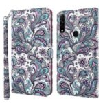 3D Painted Leather Phone Case Shell Wallet Card Holder Stand for Oppo A31 2020 / A8 2020 – Peacock Tail