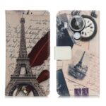 Pattern Printing Design Wallet Stand Phone Protective Cover Case for Nokia 7.3 – Tower and Quill Pen