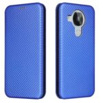 Anti-Scratch Carbon Fiber Texture Leather Auto-absorbed Card Holder Phone Cover Case for Nokia 7.3 – Blue